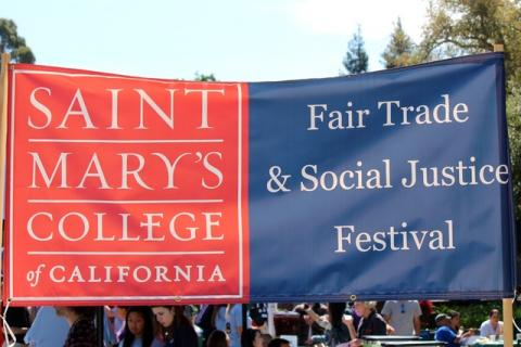 "Saint Mary's College banner says ""Fair Trade and Social Justice Festival"""