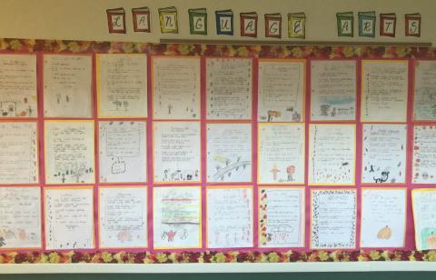 Queen of All Saint School third and fourth grade students create poetry and art inspired by the natural world