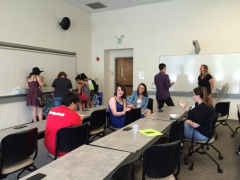 Ice Cream and Advising Spring 2016: students chat with faculty about upcoming course offerings.