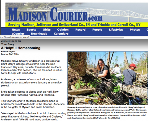 Madison Courier article about SMC's Shawny Anderso