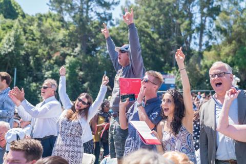 parents celebrating at the 2017 undergraduate commencement ceremony