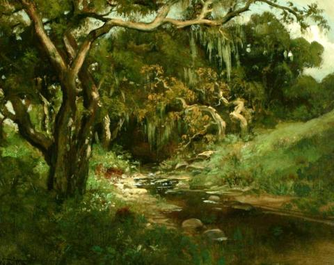 William Keith,Strawberry Creek, circa 1890-1911,Oil on canvas, 20 x 24 inches,Collection of Saint Mary's College Museum of Art, Gift of F.C. Dougherty,0-42