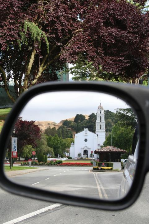 Chapel in a rearview mirror