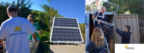Installation of solar panel at the Saint Mary's College Legacy Garden.