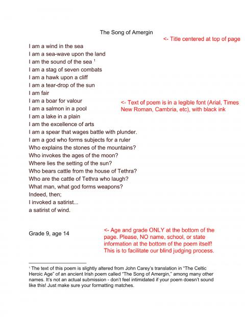 "An example entry displaying a translation of the Irish poem ""The Song of Amergin"" and detailing the formatting concerns that are listed in the FAQ. The text is in an easy to understand font and black ink, and ONLY the student's grade and age appear at the bottom of the poem."