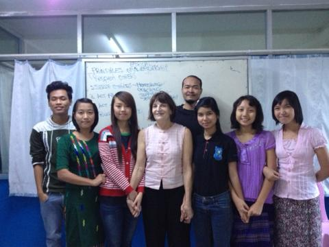 Professor Judith White with her students