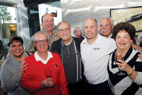 "Pictured L to R: Anita Cardenas, Richard ""Dick"" Moore '67, John Higgins, Jim Weyland '60, Barbara Tarabini, Randy Bennett, Tom Bruce '67 and Linda Higgins"