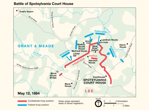 Map of Battle of Spotsylvania Court House.
