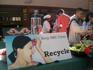 Recycling poster in Oliver Hall designed by students