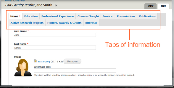 faculty profiles tabs