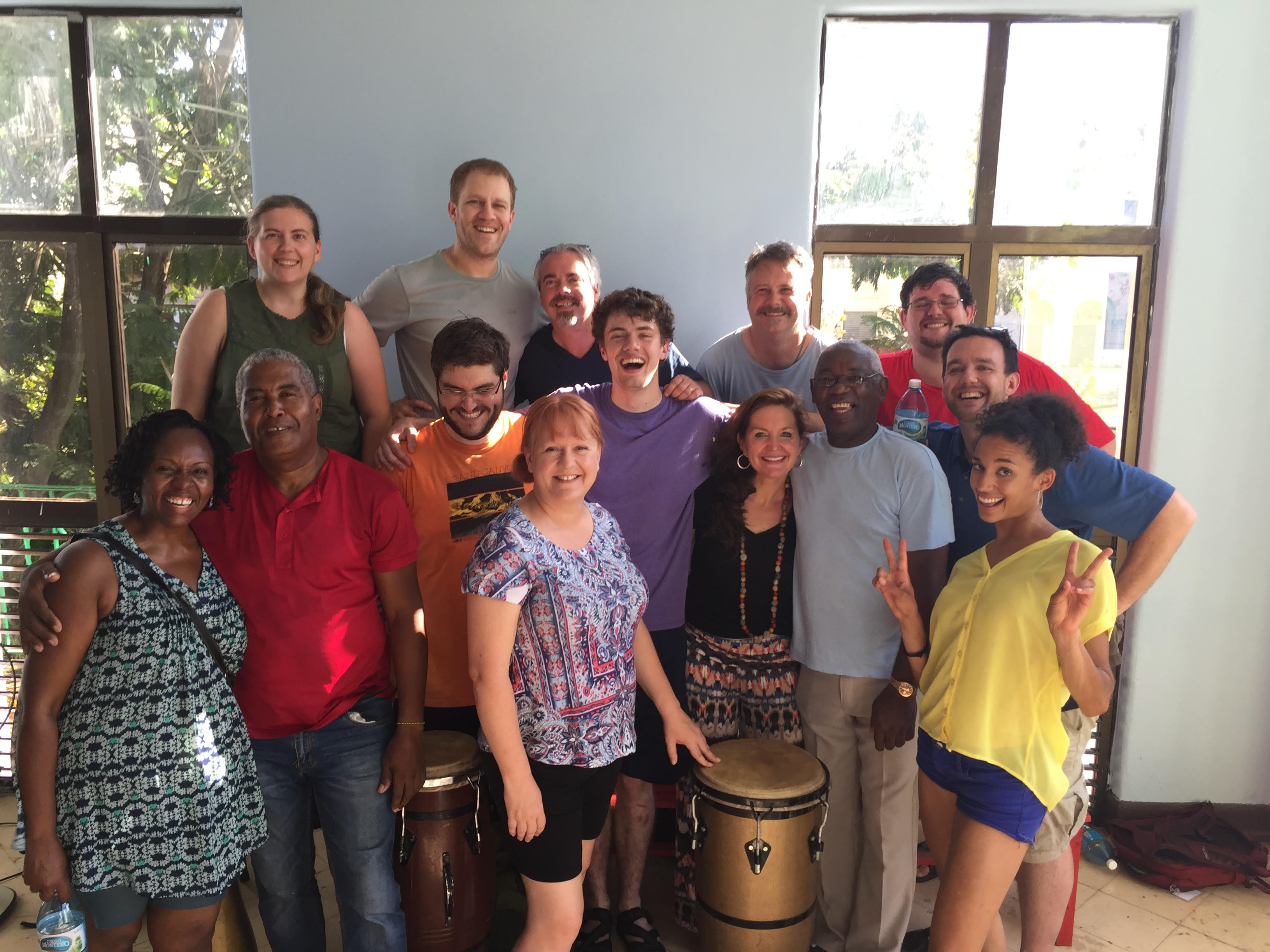 Drumming class! Students with teachers, and ThisWorldMusic Director, Jeremy Cohen.