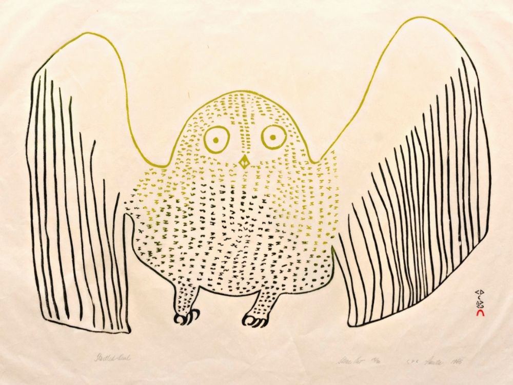 Pauta Saila (1916-2009) Startled Owl, 1965, 25 x 39 ¼ inches, Stonecut with black and chartreuse inks, Ed. 15/50 Printed by Eegyvudluk Pootoogook (1931-1999) Gifted in memory of Barbara Allen Burns, Saint Mary's College Museum of Art Permanent Collection [2008.11.25]