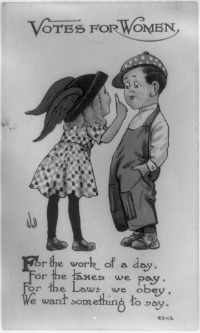 Postcard showing girl holding up finger to boy and poem, 1913