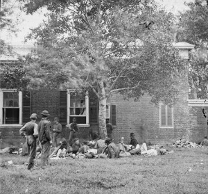 Wounded from Wilderness battle at Fredericksburg